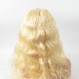 Discount long bleached blonde hair - 613 Blonde Front Full Lace Human Hair Wigs For White black Women Body Wave Indian Virgin Hair With Baby Hair bleached kn