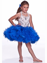 $enCountryForm.capitalKeyWord Australia - 2019 New Fashion Ball Gown Flower Girl Dresses With Spaghetti Jeweled Ruffles Short Baby Pageant Dress Rose red Blue Royal blue