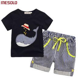 $enCountryForm.capitalKeyWord NZ - 80-130cm Cotton Kids Boys Clothes Children Clothing Sets Summer Baby Boy Clothes Cute Whale Children's Sets T-Shirt Denim Pants