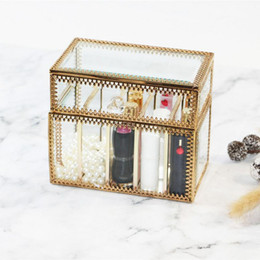 Lipstick Racks Australia - Glass Lipstick Storage Box Cosmetic Table Top Storage Box Lipstick Rack Holder