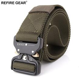 Paintball Tactical Gear Australia - Refire Gear Outdoor Survival Combat Belts Men Metal Buckle Heavy Duty Tactical Nylon Waist Belts Paintball Hiking Army Strap #315684