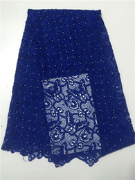 Polyester Cotton Fabric Dresses Australia - 100% polyester and cotton materials african cord laces  swiss guipure lace fabric yellow nigerian wedding dresses Royal Blue
