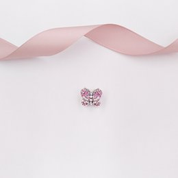 "pandora pink butterfly charm 2020 - ""Authentic 925 Sterling Silver Beads Dazzling Pink Butterfly Charm Charms Fits European Pandora Style Jewelry Brace"
