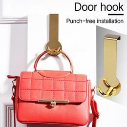 backpack hangers 2019 - Gold Stainless Steel Door Hook Punch-free Key Holder Towel Hanger For Backpacks Clothes Umbrellas Wallets Home Organizer