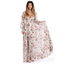 Wholesale long sleeve maxi dress style resale online – FEITONG Women V Neck Long Sleeve Chiffon Floral Long Maxi Evening Party Dress New fashion Style Ankle Length Dress vestidos