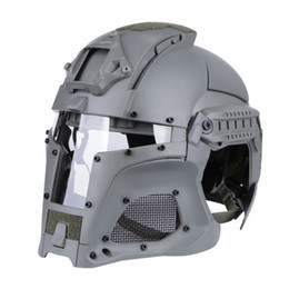 Wholesale helmet green for sale – halloween Tactical Ballistic Helmet Side Rail NVG Shroud Transfer Base Combat Airsoft Paintball Full Face Mask Helmet