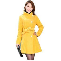 Nice Women Trench Coat Spring Winter Warm Long Outwear Work Suits Korean  Style Turn Down Collar Elegant Belt Ladies Coat A421 e04650a8c