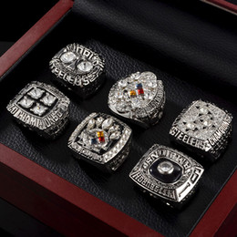 pittsburgh rings Australia - Pittsburgh Steeler Super Bowl Champion Rings Stainless Steel Rhinestone 6 Champion Rings Suits Fans Souvenirs Rings