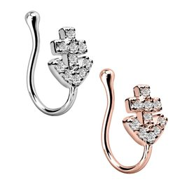 $enCountryForm.capitalKeyWord UK - 1PC Amazing Fashion Stainless Steel 5 Style Rose Gold Nose Clip Fake Nose Ring Faux Piercing Fake Septum Body Jewelry