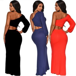 $enCountryForm.capitalKeyWord Australia - Winter Women Long Party Dresses One Shoulder Floor Length Dress Waist Cut Out Long Sleeve Maxi Prom Dresses Blue Red Black