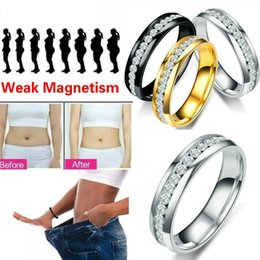 Wholesale 1pc Health Care Ring Slim Patches Fashion Single Row CZ Crystal Hand String Slimming Stimulating Acupoints Gallstone Magnetic Therapy Jewelry