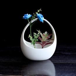 $enCountryForm.capitalKeyWord Australia - Basket Shaped Succulent Planters Flower Ceramic Pot Planters Green Plant Pots Flowerpot Cactus Planters Table Decor Zakka 5 Pieces DHL
