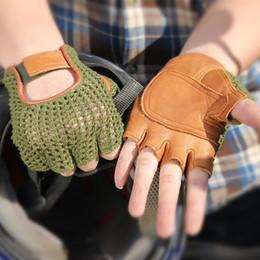 $enCountryForm.capitalKeyWord Australia - Genuine Leather Semi-finger Men Gloves Half Finger Sheepskin Fashion Hand Back Knitted Breathable Driving Leather Gloves Tb06 MX190817
