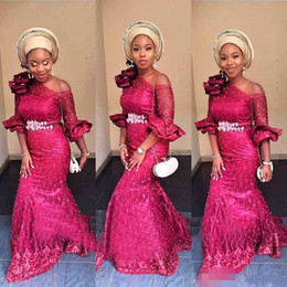 $enCountryForm.capitalKeyWord NZ - Nigerian Style Lace Kaftan Robes de soirée dubai Vestido de novia 2018 long sleeve evening gowns formal mermaid prom dresses 2019