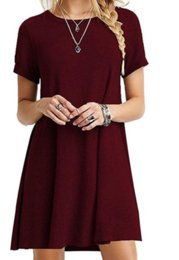 American Occasion Dresses Australia - Fourteen colors European and American classic casual women's solid color short-sleeved simple T-shirt loose wild dress for all occasion