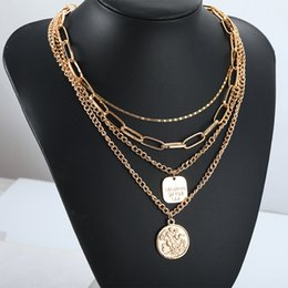 Gold Coin Head NZ - European and American Fashion Metal Necklace Retro-tassel Chain Men and Women Neutral Multilayer Coin Modeling Head Portrait Leisure Exagger
