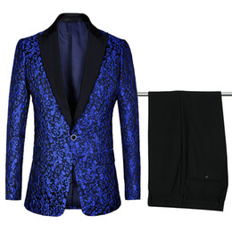 $enCountryForm.capitalKeyWord Australia - Luxury Men Wedding Suit Print Male Blazers Brand Slim Fit Suits For Men Costume Business Formal Party Blue Classic