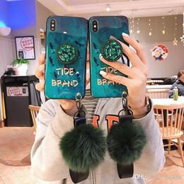 Fox Fur Iphone Case Australia - Luxury fashion emerald shiny diamond extension bracket+fox fur ball cover case for iphone 6 7 8 plus X XR XS MAX phone cases