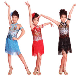 sequin fringe dance Australia - Hot Kids Girl Fringe Latin Dance Dress Tango Sequin Latin Dance Costume 6-12Y