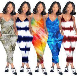 Flower women jumpsuit online shopping - S XL Women Spaghetti Strap Romper Pants V Neck Tie dyed Loose Pants Jumpsuit Wide Legs Camouflage One Piece Jumpsuits Plus Size C5903