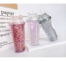 cute tumblers NZ - 17OZ Double Ear Glitter Milk Cup Children's Cartoon Cute Water Tumbler Creative Sequin Plastic Straw Glasses Double Wall Flask A02