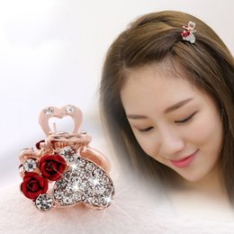 $enCountryForm.capitalKeyWord NZ - 1 PC Rose Flowers Crystal Rhinestone Alloy Hairpin Claw Clip Bridal Jewelry Headwear Accessories Girls Hair Styling Tools Hot