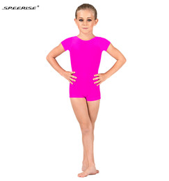 Toddler Leotards Australia - SPEERISE Child Ballet Latin Dance Unitard Biketard Kids Costume for Girls Lycra Gymnastics Short Leotard Toddler Stage Wear