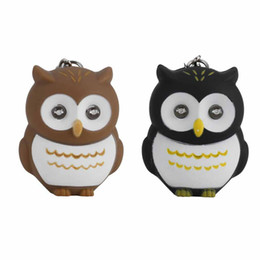 Solar Pendant Lights UK - Jewelry Trinket Cute Owl Key Chains With Sound LED Lighting Keychain Bag Charm Car Pendant Key Ring Holder Whosale