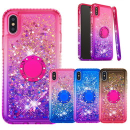 $enCountryForm.capitalKeyWord NZ - Double Color Glitter Silicone Case For iPhone X XS MAX XR 7Plus 8Plus Liquid Quicksand Bling Floating Flowing Cover with ring holder