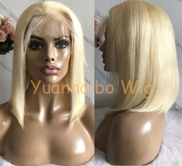 $enCountryForm.capitalKeyWord Australia - Celebrity Wigs Bob Cut Lace Front Wigs Silky Straight #613 Blonde Color 10A Grade Malaysian Virgin Human Hair Full Lace Wigs Free Shipping