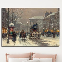 16x24 Painting Australia - Paris Street Scene By Edouard Snow The Emerald City Poster Painting on Canvas Bedroom Wall Art Decoration Pictures Home Decor