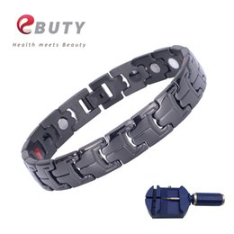 Wholesale EBUTY Black Stainless Steel Bracelet for Men Health Magnetic Energy Bracelets Bangle IONS Therapy Best Gift Wristband with Box