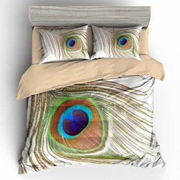 duvet sets peacock NZ - Feather Bedding Set Single Beautiful Classic Peacock Duvet Cover King Queen Simple Twin Full Single Double Bed Cover with Pillowcase