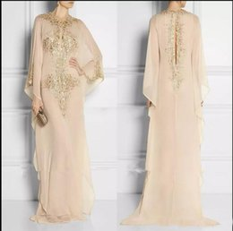muslim women evening gown Australia - Champagne Long Sleeve Dubai Muslim Women Evening Dresses Chiffon Beading Straight Plus Size Prom Gowns Mother Formal Dresses