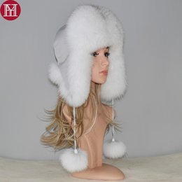 bomber hats Australia - 2018 new winter Russian natural real fox fur hat hot sale women warm good quality Fox Fur Bomber hats genuine real fox fur cap D19011503