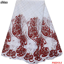 EmbroidErEd lacE yard online shopping - Latest Milk silk African Lace Fabric Embroidered Nigerian Lace Fabric Bridal High Quality French Tulle Lace Fabrics Yards F4