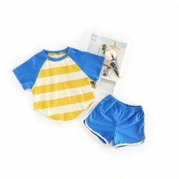 Striped Clothing Australia - 2pcs girls summer causal sport clothing set kids striped patchwork t shirt and short set baby cotton clothes children 1-5 years