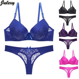 string tongs NZ - Julexy New 2020 Hollow out sexy tongs Women Bra Set B C Cup Intimates Lace G string Underwear Set Solid Sexy Bra And Panty Sets