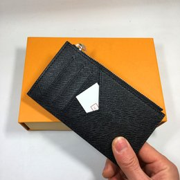 Thin cell phones online shopping - Real Leather Zipper Credit Card Wallet Business Men Black ID Card Holder Purse Fashion Luxury Coin Pocket Thin Wallets Money Bag for Mans