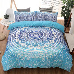 $enCountryForm.capitalKeyWord NZ - WLIARLEO Blue 3D Bedding Set Lotus Mandala 3PCS High Quality Duvet Cover Sets Bohemian Luxury Comforter
