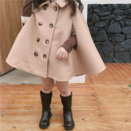 ponchos clothing Australia - Girls Poncho New style Kids Poncho Fashion Cloak woolen Girls Cape Kids Designer Clothes Girls Poncho Coat Baby cloak kids clothing A8358