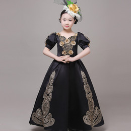 $enCountryForm.capitalKeyWord Australia - 18th Century Black Children Marie Antoinette Dress Gold Appliques Evening Christmas kids Gowns Dance Costumes