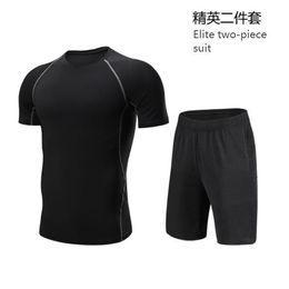 El último traje deportivo de compresión de verano, dos piezas, 2019, hombres, entrenamiento, camiseta deportiva, pantalones cortos de fitness para hombres, élite, debe tener un traje de dos piezas. en venta