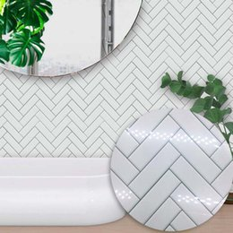 Furniture Wall Stickers Australia - Modern Simple Style Self adhesive Waterproof White Brick Pattern Tiles Wall Sticker Kitchen Bathroom Furniture Tile Sticker Wall Decal