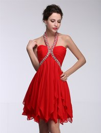 Wholesale Cheap Country Coral graduation Dresses Jewel Neck Chiffon Knee Length Guest Wear Party Dresses Maid of Honor Gowns Under 100