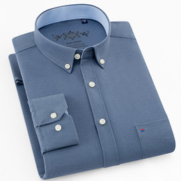 Plain Collar Shirts Australia - New Quality Button Down Collar Long Sleeve Oxford Comfortable Easy Care Men Business Solid Plain Causal Shirts With Chest Pocket
