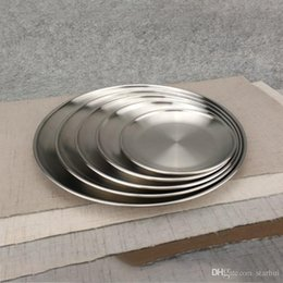 Wholesale Stainless Steel Dinner Dish Flat Plate Kitchen Tableware Dinnerware Restaurant Severing Tray Kitchen Plates WX9