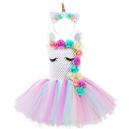 $enCountryForm.capitalKeyWord UK - Fluffy Bustle Girl Unicorn Tutu Dress With Headband Baby Kids Flowers Unicorn Theme Birthday Party Outfit Pony Halloween Costume J190709