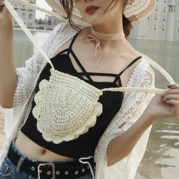 Crochet Handbags Wholesale Australia - Summer Beach Crochet Knitted Handbag Women Girl Shoulder Mini Messenger Bag
