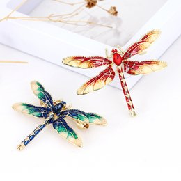 a934a86d6 Pin Crystal Jewelry Alloy Brooch Gold Brooch Retro Colored Drip Animal  Personality Dragonfly Brooch Drip Insects Corsage Fashion Women 18PCS